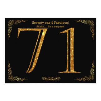 71st Birthday party,Gatsby styl,black gold glitter Card