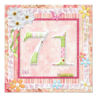 71st birthday party scrapbooking style 13 cm x 13 cm square invitation card