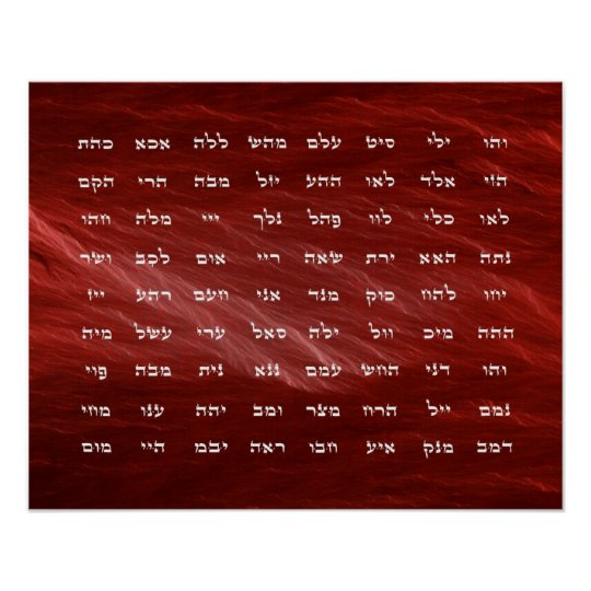 72 Names of God Meditation Art Poster