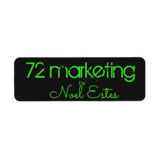 72marketing label sticker neon green black address