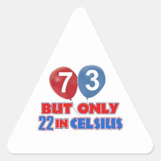 73rd birthday designs triangle sticker