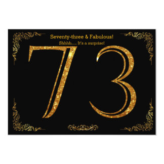 73rd Birthday party,Gatsby styl,black gold glitter Card