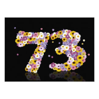 73rd Birthday party with flowered letters Custom Announcement