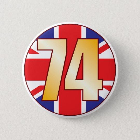 74 UK Gold 6 Cm Round Badge