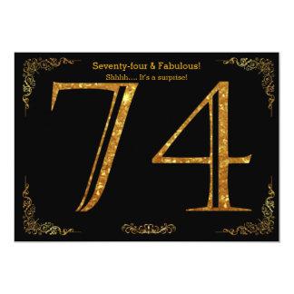 74th Birthday party,Gatsby styl,black gold glitter Card