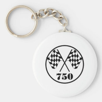 750 Checkered Flags Basic Round Button Key Ring