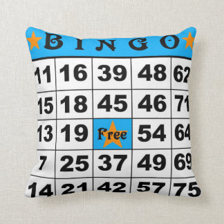 75 Ball Bingo blue/red Throw Pillow