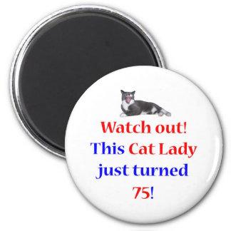75 Cat Lady 6 Cm Round Magnet