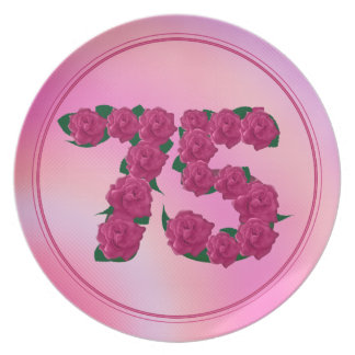 75 number birthday anniversary 75th floral plate