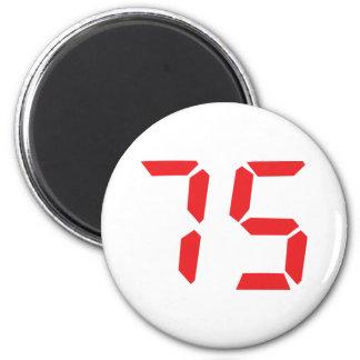 75 seventy-five red alarm clock digital number 6 cm round magnet