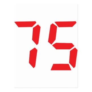 75 seventy-five red alarm clock digital number postcard