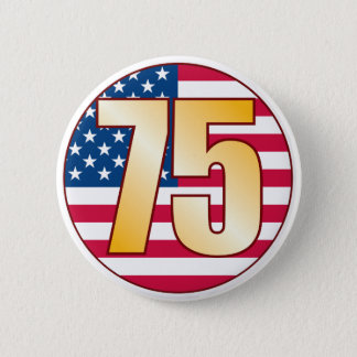 75 USA Gold 6 Cm Round Badge