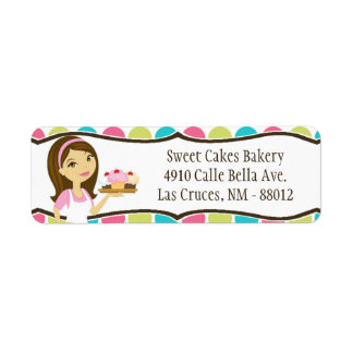 ".75""x2.25"" Bakery Brunette Return Address Label"