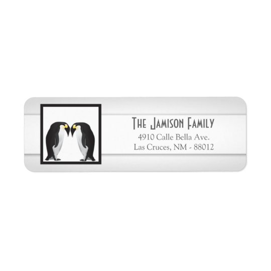 ".75""x2.25"" Return Address Label Penguins Mate Life"