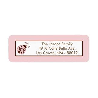 ".75""x2.25"" Return Address Label Pink Ladybug"
