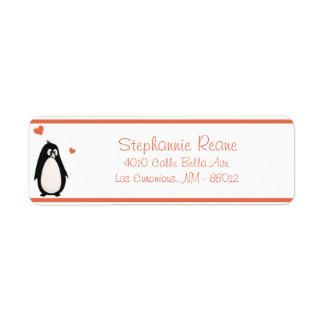 ".75"" x 2.25"" Return Address Penguin Love/Hearts Return Address Label"