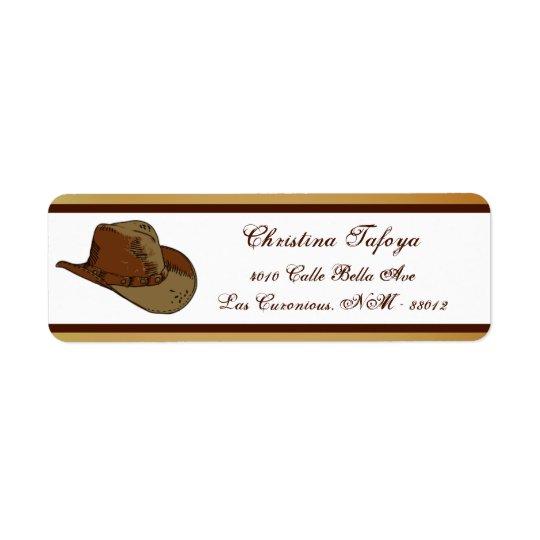 """.75"""" x 2.25"""" Return Address Western Cowgirl Hat/Bo Return Address Label"""