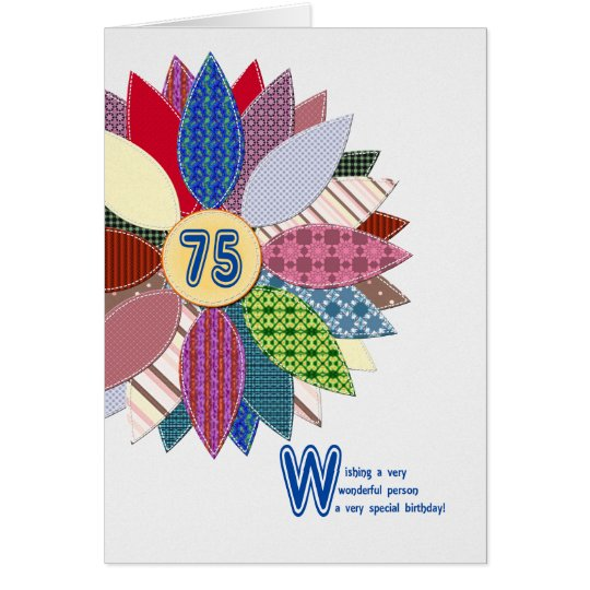 75 years old, stitched flower birthday card