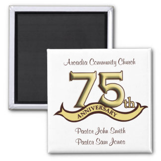 75th Anniversary Party Favors Square Magnet