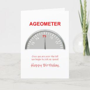75th Birthday, Ageometer Reading Card