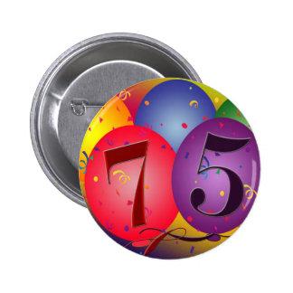 75th birthday balloons 6 cm round badge
