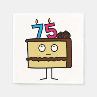 75th Birthday Cake with Candles Disposable Napkins