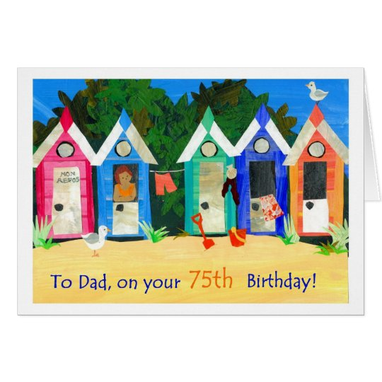 75th Birthday Card for a Father - Beach