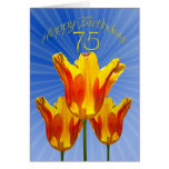 75th Birthday card, tulips full of sunshine Greeting Card