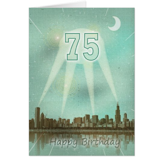 75th Birthday card with a city and spotlights
