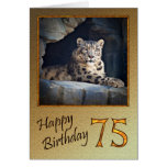 75th Birthday Card with a snow leopard