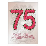 75th birthday card with roses and leaves