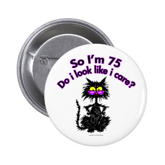 75th Birthday Cat Gifts Button
