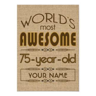 75th Birthday Celebration World Best Fabulous 13 Cm X 18 Cm Invitation Card