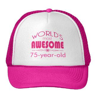 75th Birthday Celebration World's Best Bright Pink Cap