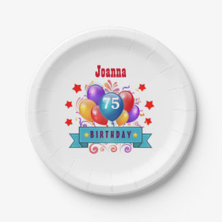 75th Birthday Festive Colorful Balloons C01GZ Paper Plate