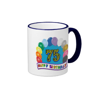 75th Birthday Gifts with Assorted Balloons Design Mug