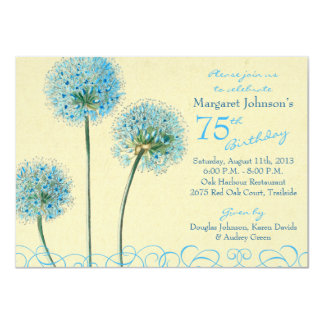 75th Birthday Invitation | Blue Vintage Floral