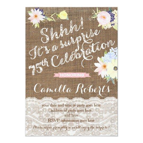 75th birthday invitations, surprise party invites