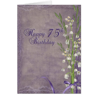 75th Birthday lily of the valley bouquet Card