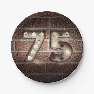 75th birthday marquee sign on brick wall paper plate