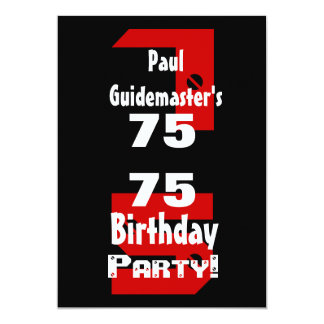 75th Birthday Modern Black Red White Rivets B479 13 Cm X 18 Cm Invitation Card