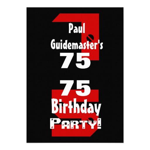 75th Birthday Modern Black Red White Rivets B479 Custom Invites