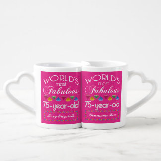 75th Birthday Most Fabulous Colorful Gems Pink Lovers Mug