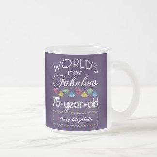 75th Birthday Most Fabulous Colorful Gems Purple Coffee Mugs