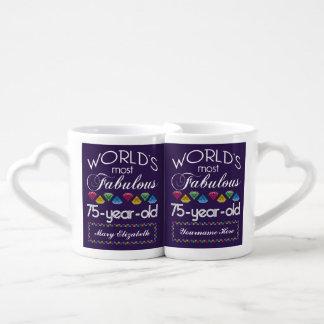 75th Birthday Most Fabulous Colorful Gems Purple Lovers Mug Sets