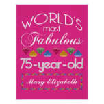 75th Birthday Most Fabulous Colourful Gems Pink Poster