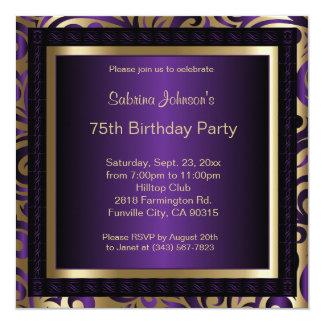 75th Birthday Party 13 Cm X 13 Cm Square Invitation Card