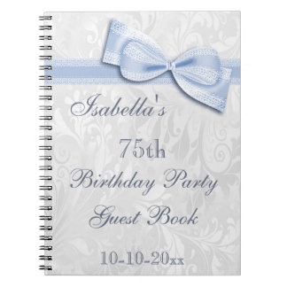 75th Birthday Party Damask and Bow Spiral Notebooks