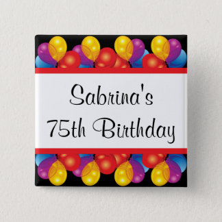 75th Birthday Party | DIY Text 15 Cm Square Badge