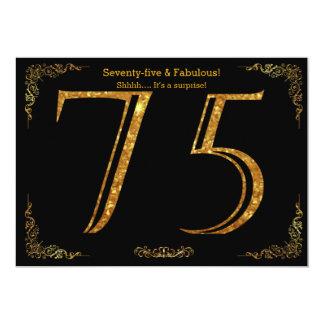 75th Birthday party,Gatsby styl,black gold glitter Card